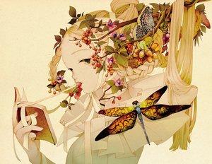 Rating: Safe Score: 44 Tags: blonde_hair book braids brown_eyes food fruit kuon_no_mori leaves long_hair ribbons tsurimaki_nodoka User: otaku_emmy
