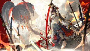 Rating: Safe Score: 85 Tags: achyue armor black_hair chain elbow_gloves gloves horns katana long_hair original pixiv_fantasia ponytail red_eyes samurai sarashi sword underwear weapon User: RyuZU