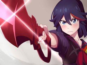 Rating: Safe Score: 58 Tags: aqua_eyes blue_hair blush cent-001 kill_la_kill matoi_ryuuko school_uniform short_hair weapon User: RyuZU