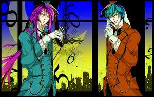 Rating: Safe Score: 17 Tags: all_male aqua_hair hat kaito kamui_gakupo male moon purple_hair vocaloid wink User: HawthorneKitty