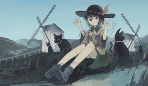 Rating: Safe Score: 29 Tags: animal bird boots cat dress grass gray_hair green_eyes hat komeiji_koishi mifuru sky touhou water windmill User: RyuZU