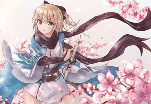 Rating: Safe Score: 31 Tags: blonde_hair cherry_blossoms fate/grand_order fate_(series) flowers japanese_clothes katana kinoruru_toiro okita_souji_(fate) sword weapon User: BattlequeenYume