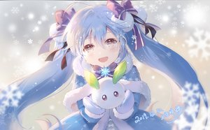 Rating: Safe Score: 65 Tags: blue_hair blush bow brown_eyes cape close gloves hatsune_miku shangguan_feiying signed snow twintails vocaloid winter User: BattlequeenYume