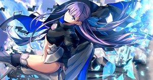 Rating: Safe Score: 84 Tags: aqua_eyes armor ass bow clouds fate/grand_order fate_(series) long_hair meltryllis merontomari nopan purple_hair sky thighhighs User: BattlequeenYume