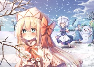 Rating: Safe Score: 34 Tags: blonde_hair blue_hair blush bow cirno clouds daiyousei fairy flowers green_eyes group hat letty_whiterock lily_white long_hair pudding_(skymint_028) short_hair sky snow touhou User: RyuZU