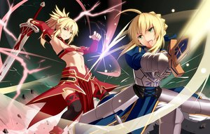 Rating: Safe Score: 127 Tags: 2girls armor artoria_pendragon_(all) blonde_hair fate/grand_order fate_(series) fate/stay_night green_eyes hirame_sa long_hair magic mordred navel ponytail saber sword thighhighs underboob weapon User: otaku_emmy