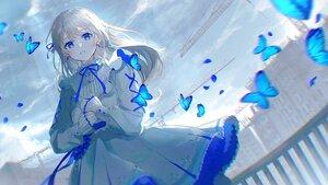 Rating: Safe Score: 100 Tags: blue_eyes butterfly clouds dress lolita_fashion long_hair original oyuyu polychromatic sky User: BattlequeenYume