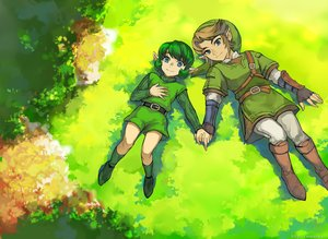 Rating: Safe Score: 15 Tags: aqua_eyes blue_eyes boots brown_hair gloves grass green_hair hat link_(zelda) male muse_(rainforest) pointed_ears saria_(zelda) short_hair shorts the_legend_of_zelda watermark User: otaku_emmy