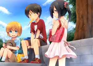 Rating: Safe Score: 91 Tags: armin_arlert black_hair blonde_hair blue_eyes brown_eyes clouds dress eren_jaeger hat marimo_danshaku mikasa_ackerman popsicle shingeki_no_kyojin short_hair shorts sky summer_dress tree twintails yellow_eyes User: FormX
