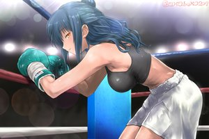 Rating: Safe Score: 64 Tags: akabeko207 blue_hair breasts gloves long_hair magnum_lily orange_eyes shorts sport tagme_(character) User: sadodere-chan