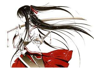 Rating: Safe Score: 103 Tags: bandage black_hair japanese_clothes jpeg_artifacts katana long_hair miko original pixiv_fantasia ponytail sword toshimasa_komiya weapon white User: Tensa