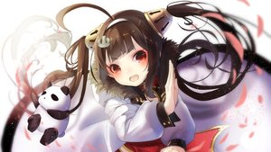 Rating: Safe Score: 52 Tags: animal anthropomorphism azur_lane bear brown_hair chinese_clothes loli long_hair panda pecco_chan petals ping_hai_(azur_lane) red_eyes twintails User: BattlequeenYume