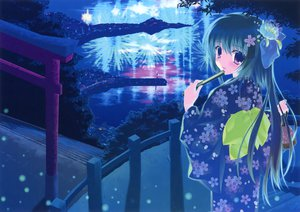 Rating: Safe Score: 70 Tags: fan flowers japanese_clothes kimono long_hair nanao_naru night scan tagme tree User: gnarf1975