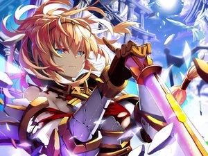 Rating: Safe Score: 39 Tags: armor blue_eyes clouds elbow_gloves gloves goddess_of_genesis jie_laite orange_hair ponytail sky sword valkyrie_(goddess_of_genesis) weapon User: RyuZU