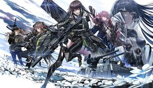 Rating: Safe Score: 80 Tags: aliasing anthropomorphism armor black_hair brown_eyes brown_hair clouds flowers girls_frontline gloves group gun hoodie long_hair m4a1_(girls_frontline) ponytail purple_hair scar skirt sky st_ar-15_(girls_frontline) swav thighhighs torn_clothes twintails ump-45_(girls_frontline) ump-9_(girls_frontline) weapon wink yellow_eyes User: BattlequeenYume