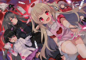 Rating: Safe Score: 79 Tags: apron bandage black_hair blonde_hair blood boots dress elbow_gloves fang glasses gloves gray_hair group headdress knife kurot loli minai_karte natori_sana nurse paper pink_eyes red_eyes rokudou_mei sana_channel short_hair takajin-chan takajin-channel thighhighs twintails virtual_clinic watermark zettai_ryouiki User: otaku_emmy