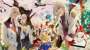 Rating: Safe Score: 6 Tags: aerysky all_male animal bell cherry_blossoms dog flowers glasses gray_hair group long_hair male onmyouji petals pink_eyes red_eyes short_hair tree yellow_eyes User: RyuZU