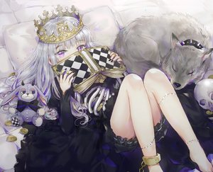 Rating: Safe Score: 191 Tags: animal book bunny chain crown dangmill dress gray_hair halloween long_hair original purple_eyes shackles skull waifu2x wolf User: luckyluna