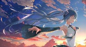 Rating: Safe Score: 41 Tags: aqua_hair clouds hatsune_miku long_hair no_bra piisu sky stars sunset tie twintails vocaloid User: sadodere-chan