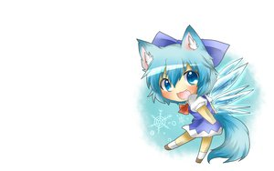 Rating: Safe Score: 86 Tags: animal_ears blue_eyes blue_hair blush cat_smile chibi cirno fairy fang rebecca_(naononakukoroni) short_hair tail touhou white wings User: SciFi