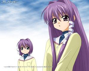 Rating: Safe Score: 12 Tags: 2girls blue_eyes calendar clannad fujibayashi_kyou fujibayashi_ryou long_hair purple_eyes purple_hair seifuku sugimura_tomokazu twins vector User: Oyashiro-sama