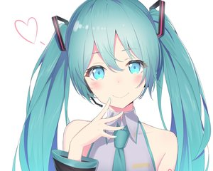 Rating: Safe Score: 57 Tags: aqua_eyes aqua_hair bibboss39 blush close cropped hatsune_miku headphones heart long_hair microphone tattoo tie twintails vocaloid white User: otaku_emmy