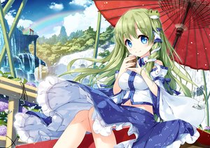 Rating: Safe Score: 38 Tags: aqua_eyes bow clouds drink flowers green_hair japanese_clothes kochiya_sanae landscape long_hair miko miyase_mahiro navel rainbow ribbons scenic skirt sky torii touhou tree umbrella water waterfall User: BattlequeenYume