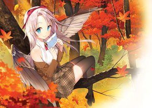Rating: Safe Score: 55 Tags: aqua_eyes autumn blonde_hair forest headband jpeg_artifacts leaves long_hair original paper ribbons salt_(salty) skirt thighhighs tree wings User: otaku_emmy