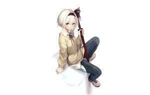 Rating: Safe Score: 43 Tags: green_eyes headband homo_1121 katana konpaku_youmu myon shirt short_hair sword touhou weapon white white_hair User: otaku_emmy