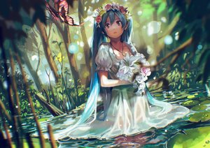 Rating: Safe Score: 120 Tags: aqua_eyes aqua_hair butterfly flowers forest hatsune_miku headdress long_hair necklace rose tears tree tsukun112 twintails vocaloid water User: Flandre93