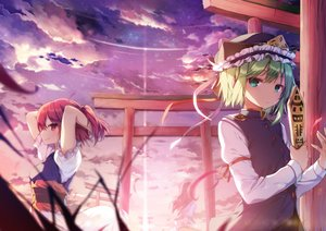 Rating: Safe Score: 81 Tags: aqua_eyes bow clouds dress grass green_hair hat onozuka_komachi ponytail red_eyes red_hair ribbons shikieiki_yamaxanadu shinoba short_hair skirt sky stars sunset tagme_(character) torii touhou User: luckyluna