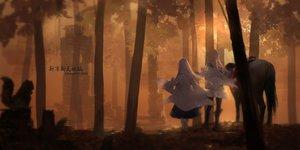 Rating: Safe Score: 86 Tags: 2girls animal forest horse original pixiv_fantasia polychromatic swd3e2 tree User: luckyluna