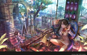 Rating: Safe Score: 189 Tags: black_hair blonde_hair blue_eyes braids breasts brown_hair bunny butterfly cake cleavage cross drink flowers food fuji_choko glasses long_hair male necklace original paper phone ponytail scenic short_hair skirt stairs suit tie tree twintails watermark User: w7382001