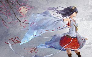 Rating: Safe Score: 147 Tags: anthropomorphism black_hair cherry_blossoms flowers haruna_(kancolle) headband japanese_clothes kantai_collection long_hair miko moon oki_(koi0koi) skirt thighhighs yellow_eyes User: FormX
