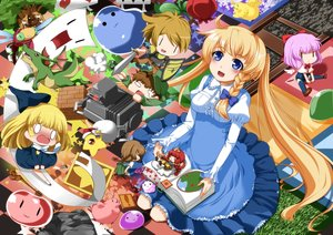 Rating: Safe Score: 53 Tags: apron armor blonde_hair blue_eyes book bow braids chibi dress eiyuu grass long_hair original sword thighhighs twintails weapon wings User: Wiresetc