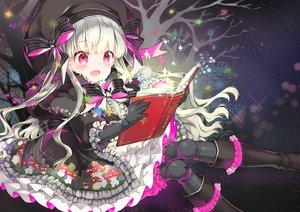 Rating: Safe Score: 75 Tags: book bow doll dress elbow_gloves fate/grand_order fate_(series) gloves goth-loli juna loli lolita_fashion long_hair nursery_rhyme_(fate/extra) pink_eyes sky stars tree white_hair User: BattlequeenYume