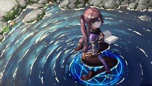 Rating: Safe Score: 68 Tags: book genshin_impact gloves green_eyes long_hair magic mona_(genshin_impact) twintails user_rsvk4825 water User: BattlequeenYume