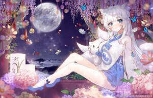 Rating: Safe Score: 83 Tags: animal_ears applecaramel_(acaramel) blue_eyes breasts butterfly cleavage doll flowers foxgirl long_hair moon multiple_tails original tail white_hair User: BattlequeenYume