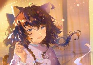 Rating: Safe Score: 41 Tags: animal_ears aruterra blue_eyes braids brown_hair catgirl close original ribbons short_hair tail User: BattlequeenYume