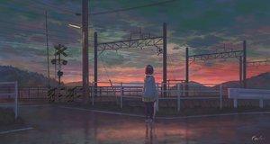 Rating: Safe Score: 47 Tags: clouds feel_(nasitaki) hoodie original pantyhose short_hair signed skirt sky sunset train umbrella User: BattlequeenYume