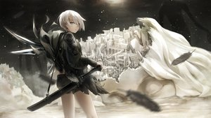 Rating: Safe Score: 29 Tags: building city demon feathers horns hyp original pointed_ears short_hair shorts sword weapon white_hair User: BattlequeenYume