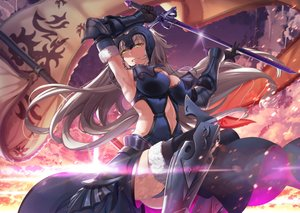 Rating: Safe Score: 142 Tags: ass boots breasts chain clouds dress elbow_gloves fate/grand_order fate_(series) gloves gray_hair hasaya headdress jeanne_d'arc_alter jeanne_d'arc_(fate) long_hair navel panties sky sword thighhighs underwear weapon yellow_eyes User: RyuZU