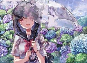 Rating: Safe Score: 123 Tags: ayatsuki_sugure black_hair clouds flowers original rain red_eyes seifuku short_hair sky umbrella water wristwear User: BattlequeenYume