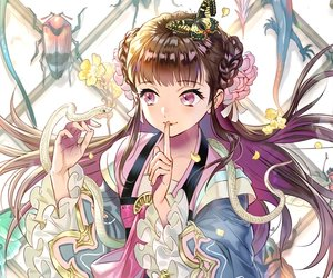 Rating: Safe Score: 33 Tags: animal braids brown_hair butterfly chinese_clothes cropped flowers foo_midori long_hair original petals pink_eyes snake User: otaku_emmy