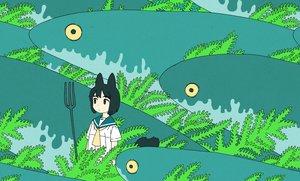 Rating: Safe Score: 52 Tags: akai_sashimi animal animal_ears black_eyes black_hair dress fish foxgirl leaves original polychromatic seifuku short_hair tail User: otaku_emmy