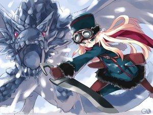 Rating: Safe Score: 25 Tags: gagraphic hat logo snow sword usatsuka_eiji watermark weapon User: Oyashiro-sama