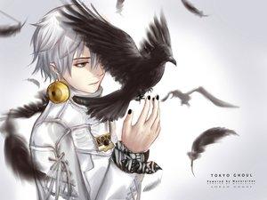 Rating: Safe Score: 76 Tags: all_male animal bird feathers gray_eyes kaneki_ken male mazarinee shorts tokyo_ghoul white_hair User: Maboroshi