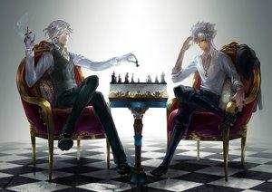 Rating: Safe Score: 30 Tags: all_male amakusa_shirou ayamatazu cigarette cross edmond_dantes fate/grand_order fate_(series) gloves gray_hair male necklace orange_eyes short_hair smoking wink User: RyuZU