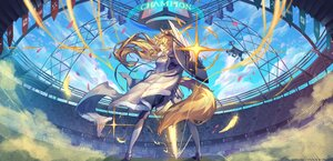 Rating: Safe Score: 35 Tags: arknights armor blemishine_(arknights) blonde_hair clouds long_hair pixerite ponytail sky tail yellow_eyes User: Nepcoheart