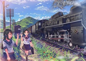 Rating: Safe Score: 128 Tags: 2girls aliasing anthropomorphism ayanami_(kancolle) brown_eyes brown_hair building clouds daito flowers grass isonami_(kancolle) kantai_collection kneehighs long_hair ponytail scenic school_uniform train twintails User: Flandre93